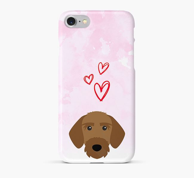 Phone Case with Korthals Griffon Icon & Hearts