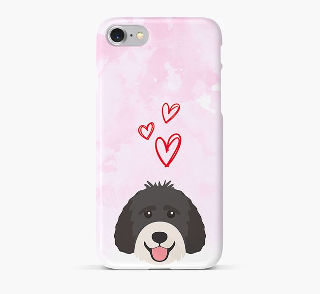 Phone Case with Labradoodle Icon & Hearts