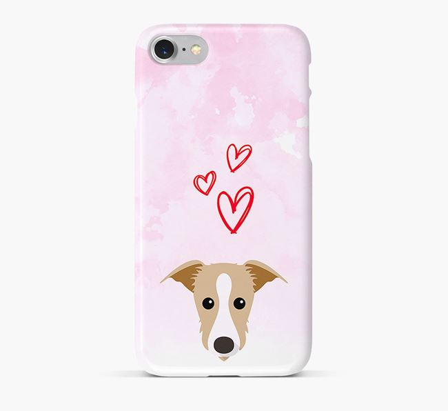 Phone Case with Lurcher Icon & Hearts