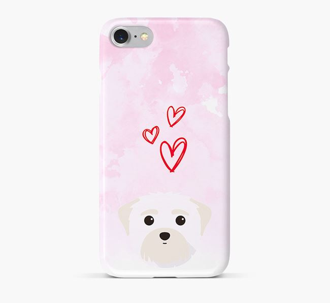Phone Case with Maltese Icon & Hearts