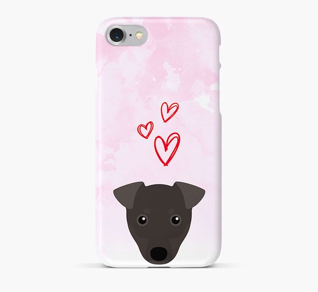 Phone Case with Manchester Terrier Icon & Hearts