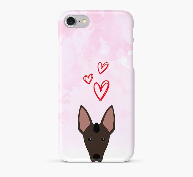 Phone Case with Mexican Hairless Icon & Hearts