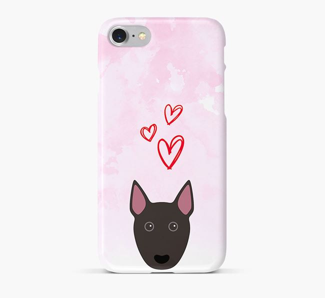 Phone Case with Miniature Bull Terrier Icon & Hearts