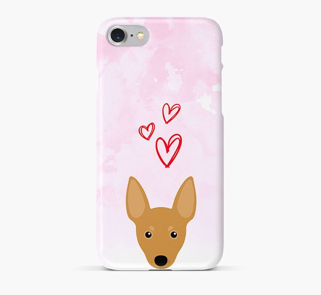 Phone Case with Miniature Pinscher Icon & Hearts