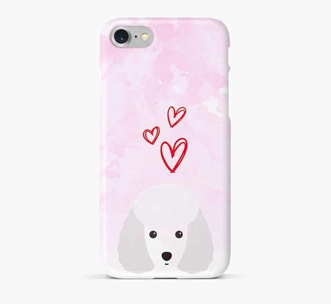 Phone Case with Miniature Poodle Icon & Hearts