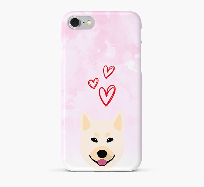 Phone Case with Buhund Icon & Hearts