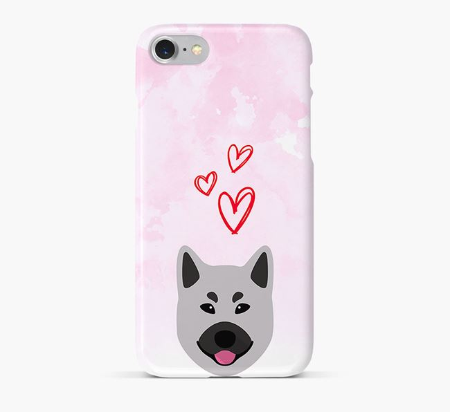 Phone Case with Elkhound Icon & Hearts