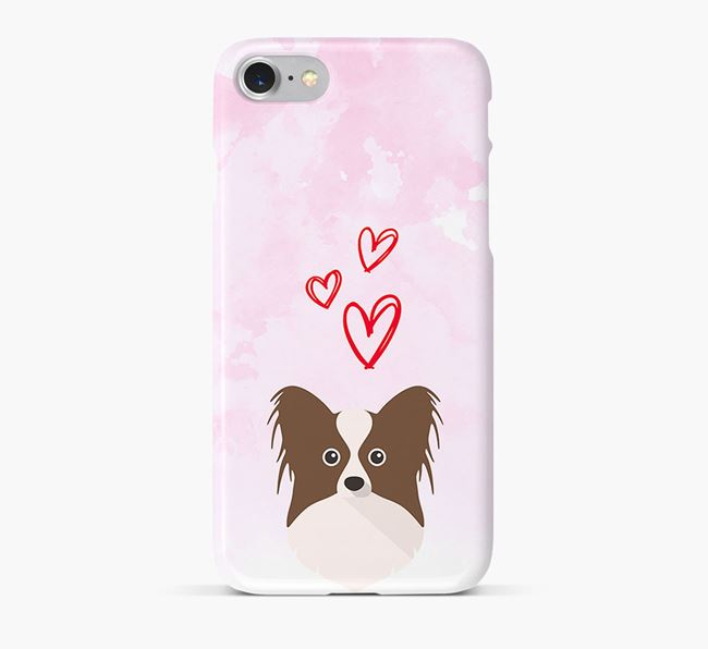 Phone Case with Papillon Icon & Hearts