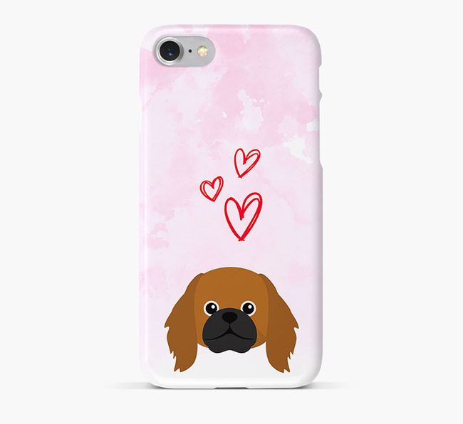 Phone Case with Pekingese Icon & Hearts
