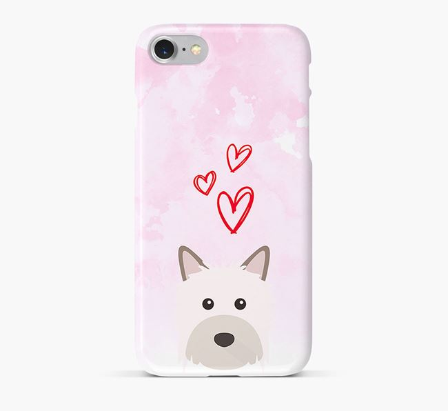 Phone Case with Powderpuff Icon & Hearts