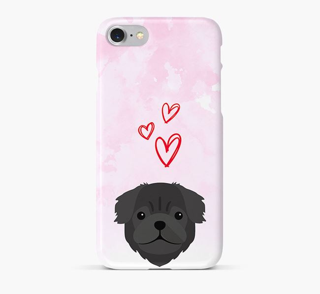 Phone Case with Pug Icon & Hearts