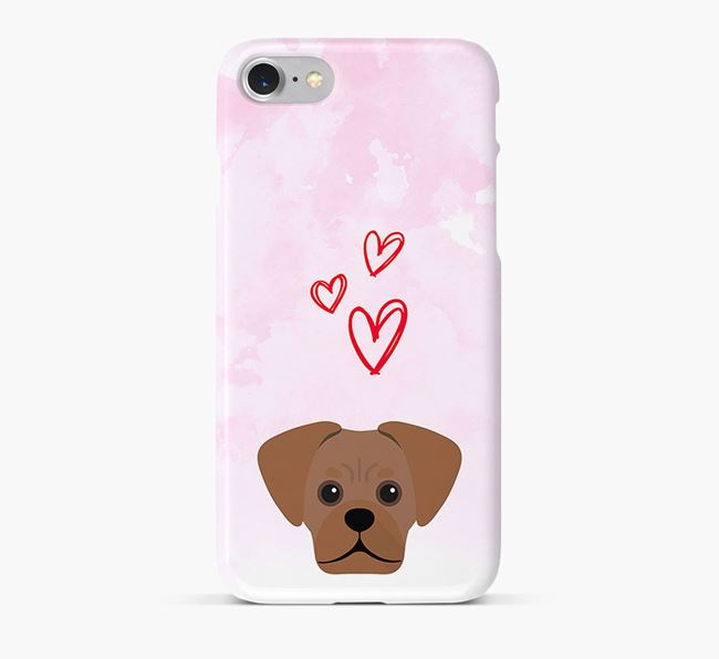 Phone Case with Pugalier Icon & Hearts