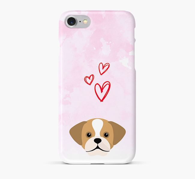 Phone Case with Puggle Icon & Hearts