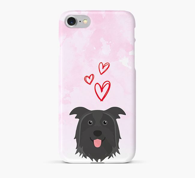 Phone Case with Pyrenean Shepherd Icon & Hearts