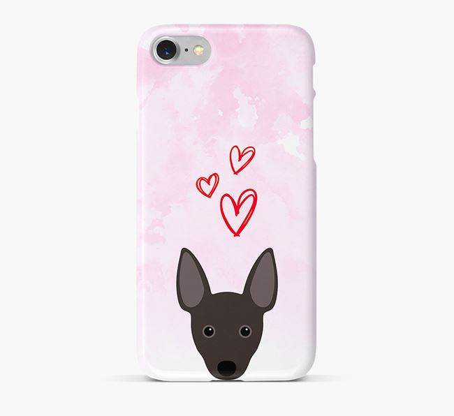 Phone Case with Rat Terrier Icon & Hearts