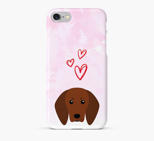 Phone Case with Redbone Coonhound Icon & Hearts