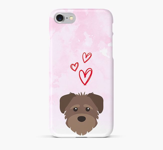 Phone Case with Rescue Dog Icon & Hearts