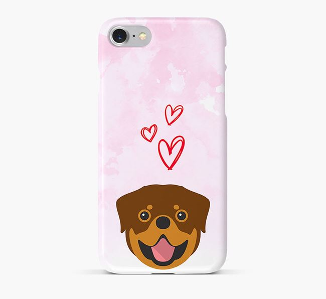 Phone Case with Rottweiler Icon & Hearts