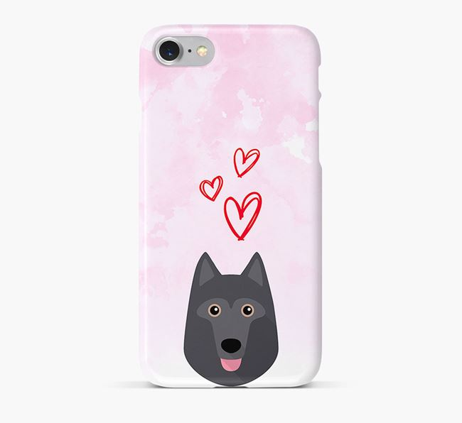 Phone Case with Schipperke Icon & Hearts