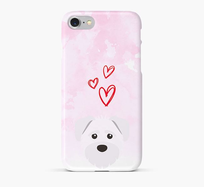 Phone Case with Schnoodle Icon & Hearts