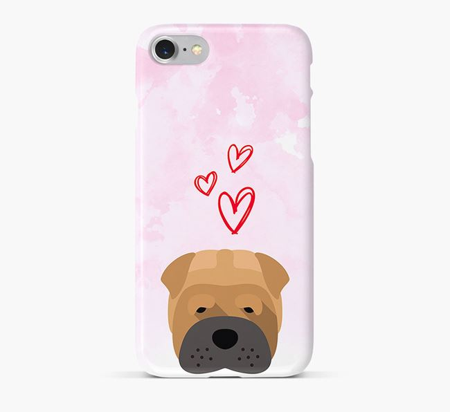 Phone Case with Shar Pei Icon & Hearts