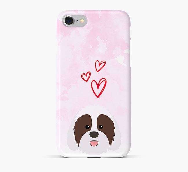 Phone Case with Sheepadoodle Icon & Hearts