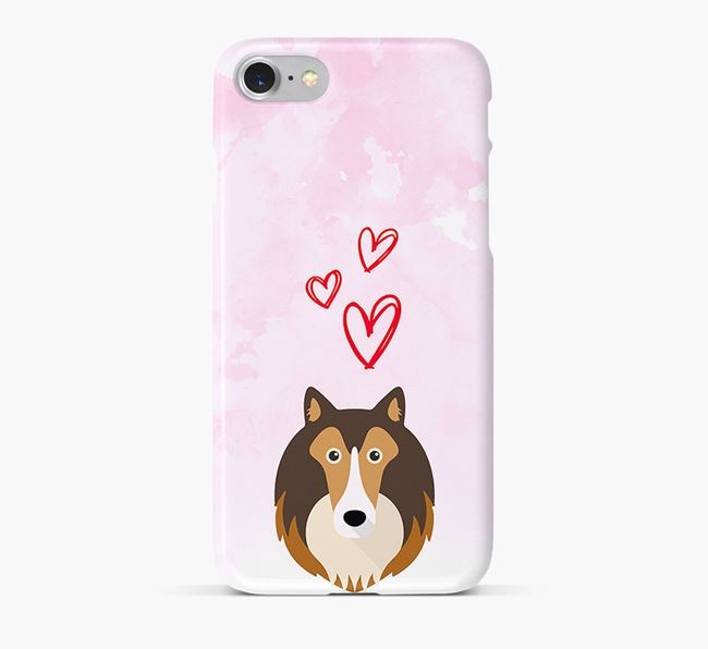 Phone Case with Sheltie Icon & Hearts