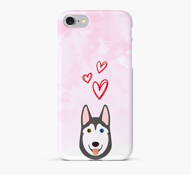 Phone Case with Husky Icon & Hearts