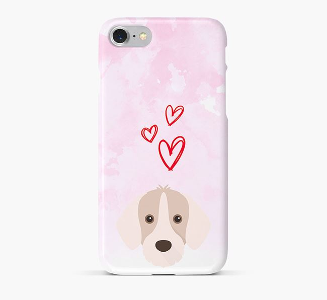 Phone Case with Slovakian Pointer Icon & Hearts