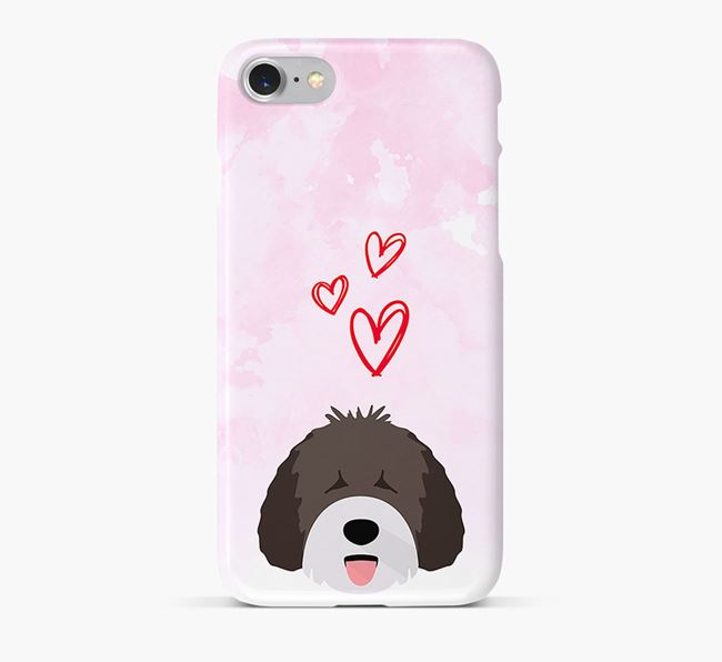 Phone Case with Spanish Water Dog Icon & Hearts