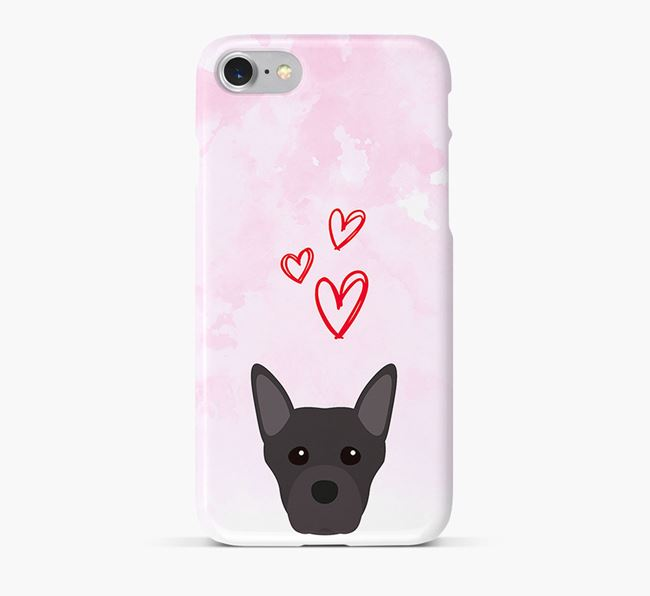 Phone Case with Staffie Icon & Hearts