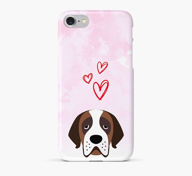Phone Case with St. Bernard Icon & Hearts