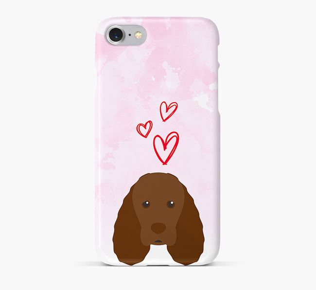 Phone Case with Sussex Spaniel Icon & Hearts
