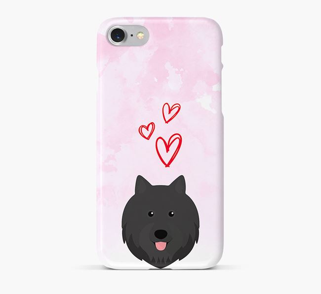 Phone Case with Swedish Lapphund Icon & Hearts