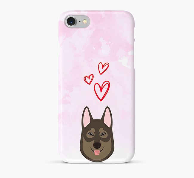 Phone Case with Tamaskan Icon & Hearts