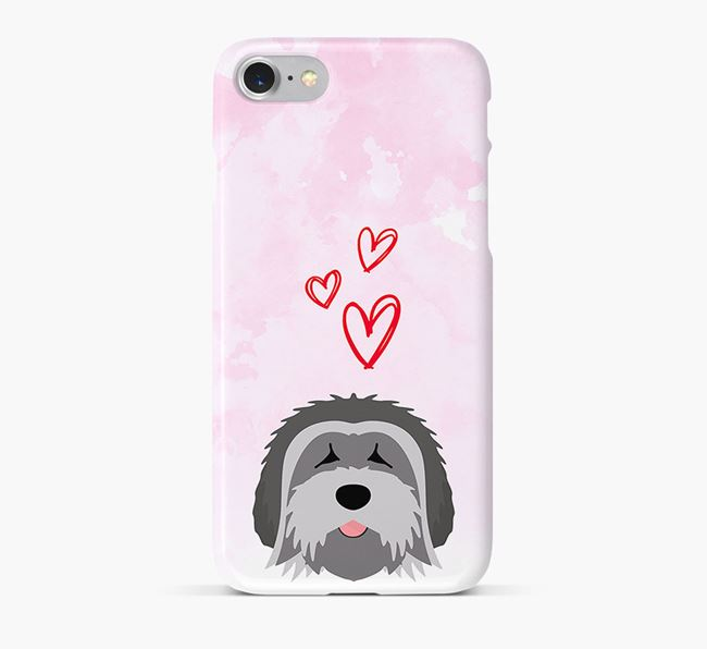 Phone Case with Tibetan Terrier Icon & Hearts