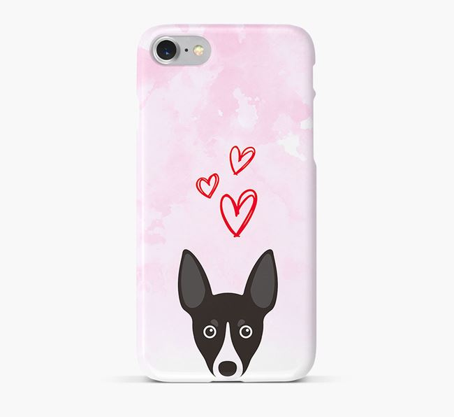 Phone Case with Toy Fox Terrier Icon & Hearts