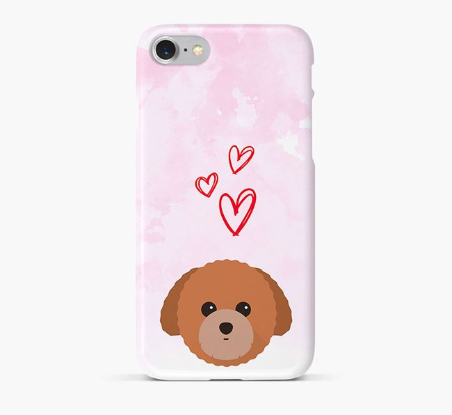 Phone Case with Toy Poodle Icon & Hearts