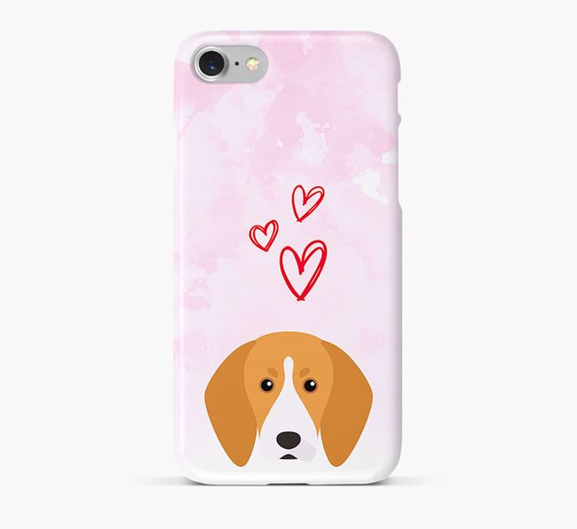 Phone Case with Treeing Walker Icon & Hearts