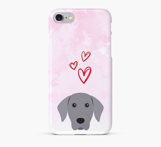 Phone Case with Weimaraner Icon & Hearts