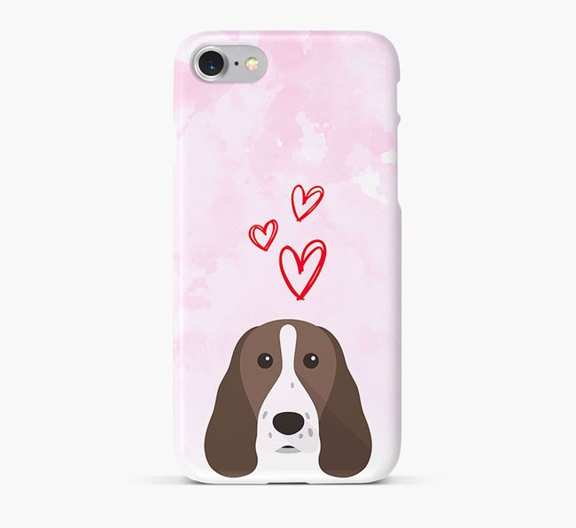 Phone Case with Welsh Springer Icon & Hearts