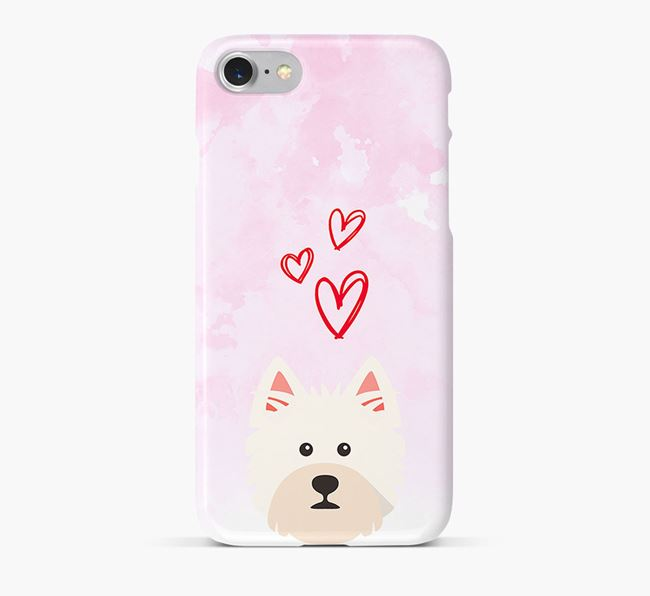 Phone Case with Westie Icon & Hearts