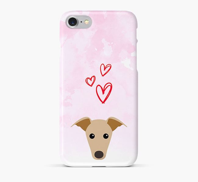Phone Case with Whippet Icon & Hearts