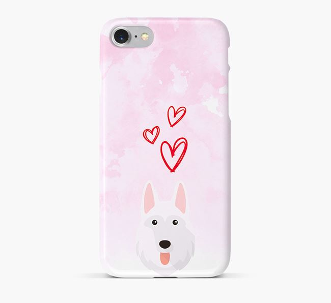 Phone Case with White Swiss Icon & Hearts