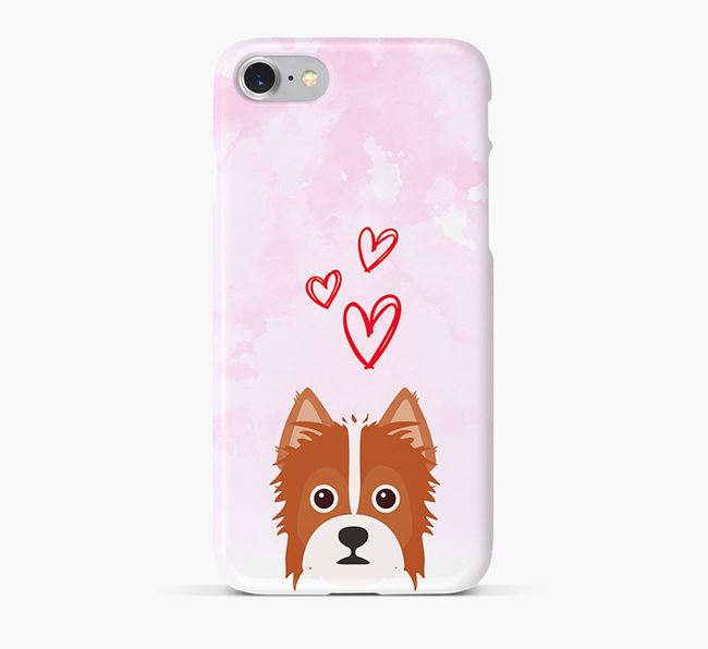 Phone Case with Yorkie Russell Icon & Hearts