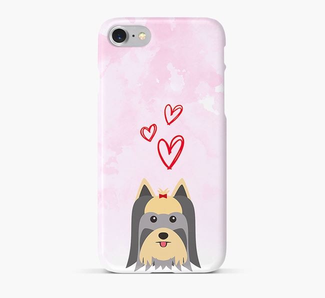 Phone Case with Yorkshire Terrier Icon & Hearts