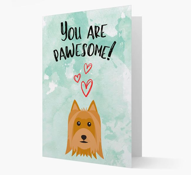 'You are pawesome!' Card with Silky Terrier Icon