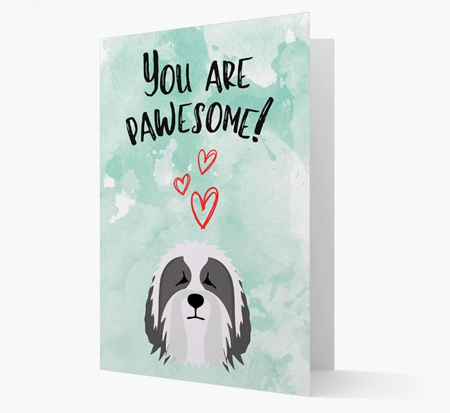 'You are pawesome!' Card with Bearded Collie Icon