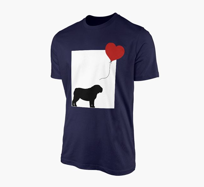 'Heart Balloon' - Personalised English Bulldog Adult T-Shirt