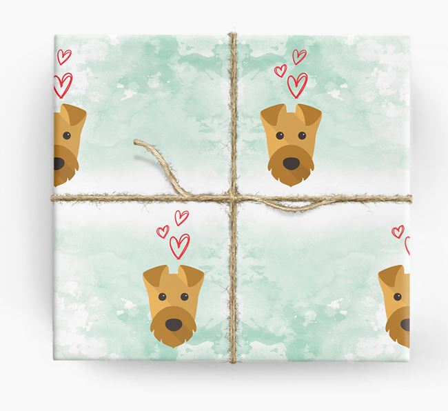 Airedale Icons & Hearts Wrapping Paper